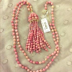 Sylvia Long Pendant Necklace In Pink Rhodonite